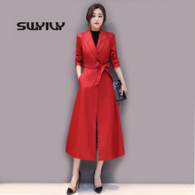 SWYIVY Winter Women Leather Jackets PU Inner Pile Warm Long Desgin 2018 New Female Solid Coats Big Size Woman Jacket 4XL