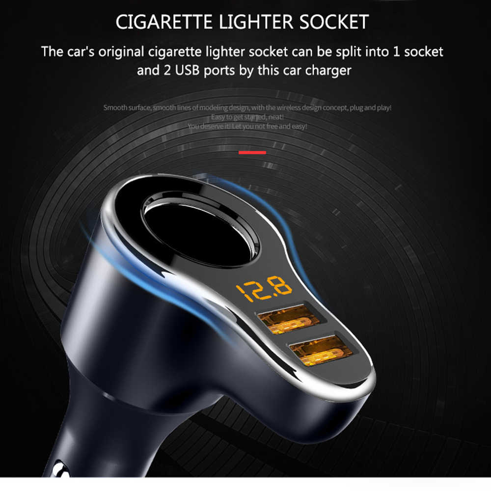 Cigarette Lighter Socket Car Charger 3.1A Voltage Display 12-24V LED Indicate Light Dual USB Charger Adapter For Phone MP3 DVR