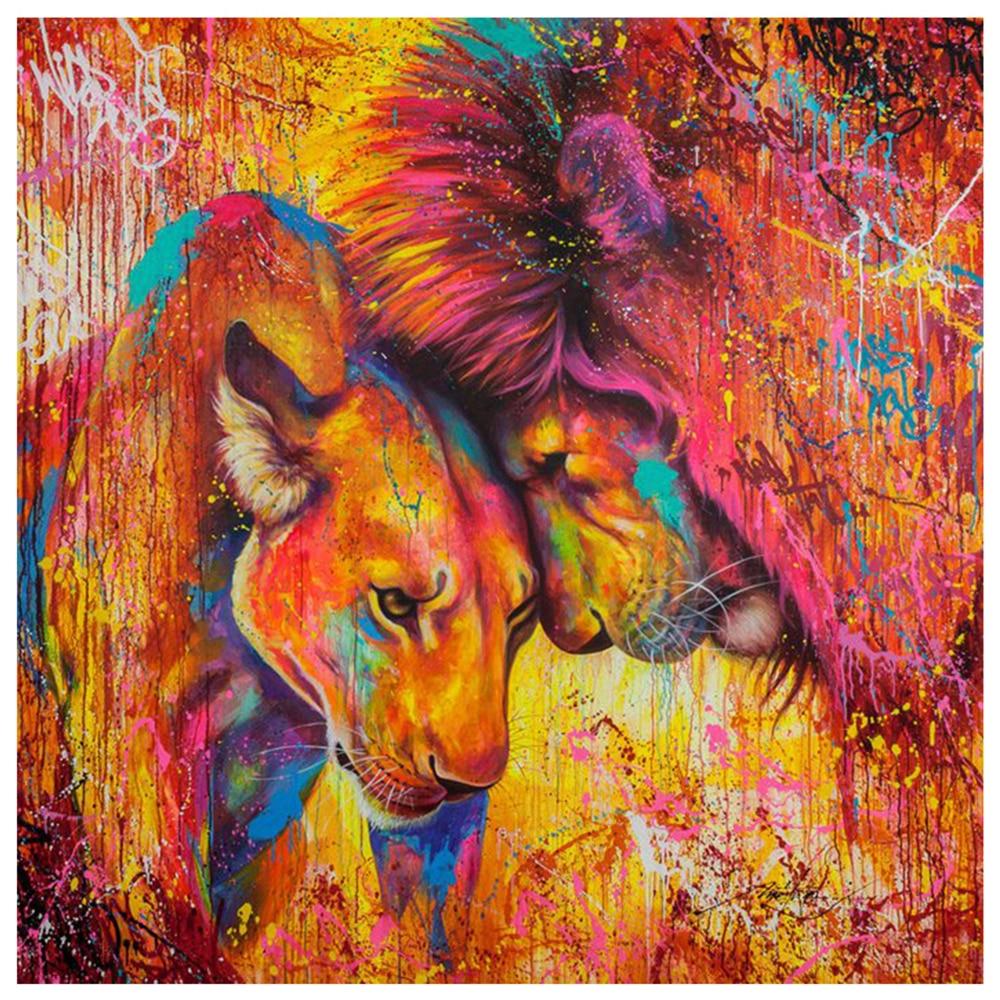 Diamantmålning Lion Full Square Animals Diamond Broderi Hantverk Mosaic Cross Stitch Rhinestones Home Decoration