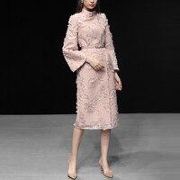 Дизайнерское розовое шерстяное пальто с кисточками для подиума 2019, осенне зимнее элегантное облегающее пальто с высоким воротником и раскл
