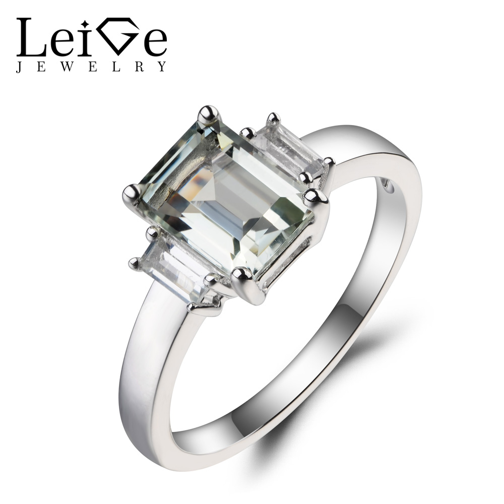 Leige Jewelry Real Natural Green Amethyst Ring Wedding Ring Emerald Cut Green Gemstone 925 Sterling Silver Ring Gifts for Girls leige jewelry solitaire ring natural green amethyst ring anniversary ring emerald cut green gemstone 925 sterling silver gifts