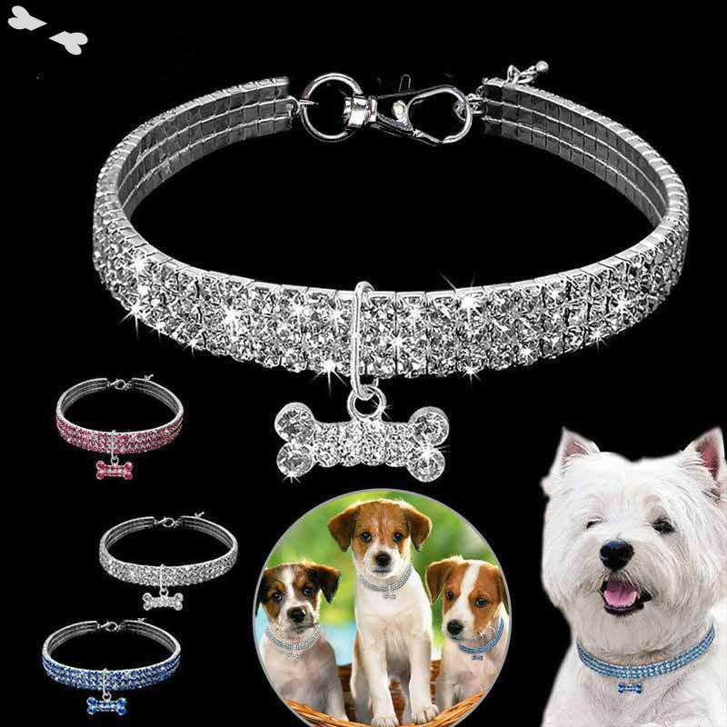 3 Rows Of Rhinestone Stretch Line font b Pet b font Necklaces Dog Cat Crystal dog