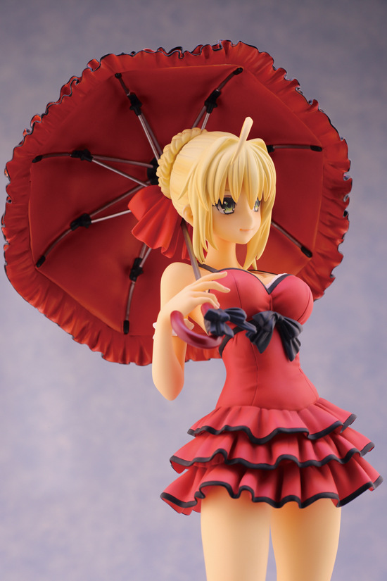 ФОТО Wholesale 18pcs Alphamax Fate/Extra CCC red Saber Nero hand on umbrella action pvc figure toy tall 25cm in box via EMS.