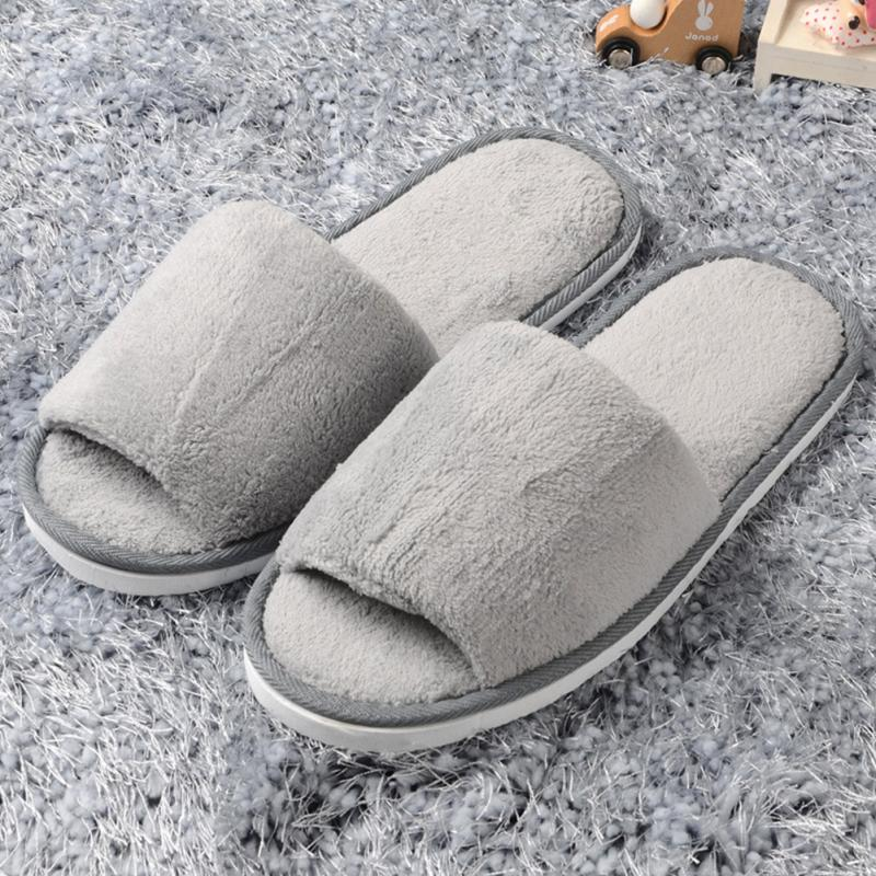 2019 New Unisex Women Open Toe Winter Home Slippers flannel Warm Peep-toe Slippers Fleece House Indoor Lovers Shoes2019 New Unisex Women Open Toe Winter Home Slippers flannel Warm Peep-toe Slippers Fleece House Indoor Lovers Shoes