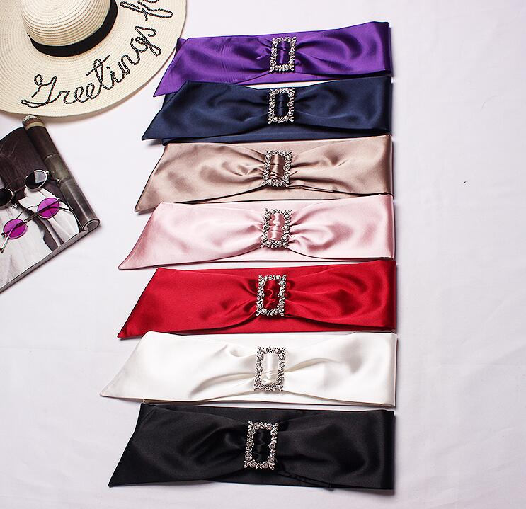 Women's Runway Fashion Diamonds Imitation Satin Cummerbunds Female Dress Corsets Waistband Belts Decoration Wide Belt R1702
