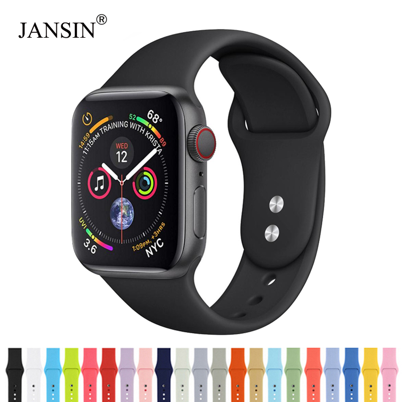 JANSIN Silicone Sport Band For Apple Watch Series 5 4 3 2 1 Bracelet Apple Watch Band 38mm 42mm 40mm 44mm Iwatch Strap Correa