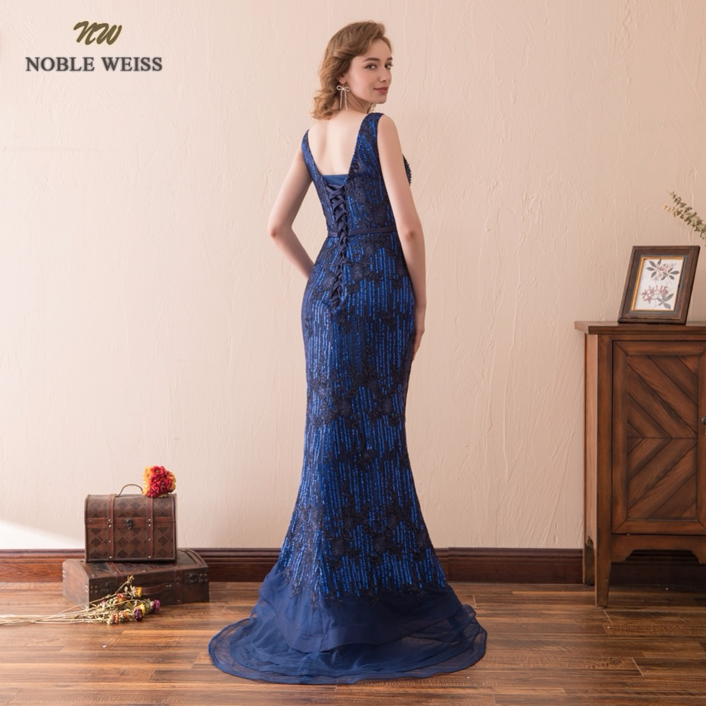 NOBLE WEISS Sexy Mermaid Evening Dresses Beading Sequin V-Neck Prom Gown Robe de Soiree 2019 Formal Special Occasion Gowns