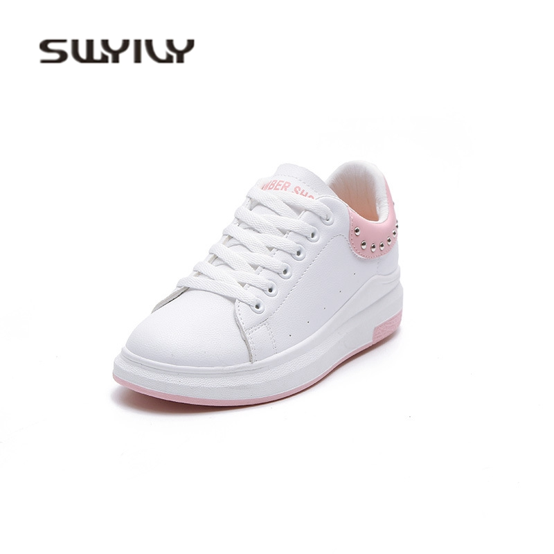 SWYIVY Woman Sneakers 2018 Spring Rivet White Casual Shoes Woman Sneakers  Platform Wedge Female Canvas Shoes Leisure Footwear 40-in Women s Vulcanize  Shoes ... f46f8687db39