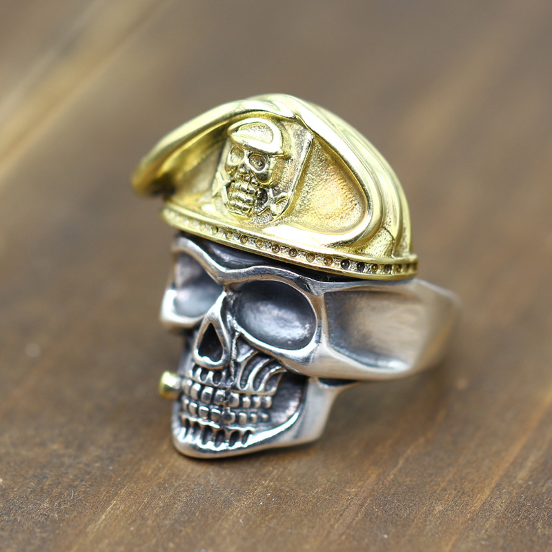 carving, retro World War II officer, beret skull, sterling silver ring, the soul of undead, Thai silver ring s925 sterling silver skull ring metrosexual officers personality of world war ii punk man retro silver ring opening