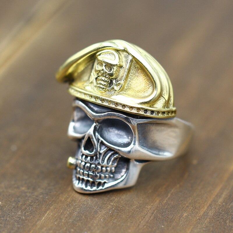 100% réel S925 argent mode bijoux Vintage artisanat Thai argent bague pour hommes or Bronze hommes crâne soldat instructeur anneaux