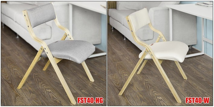 SoBuy/® FST40-W Dining Chair Desk Chair Wooden Padded Folding Chair Office Chair