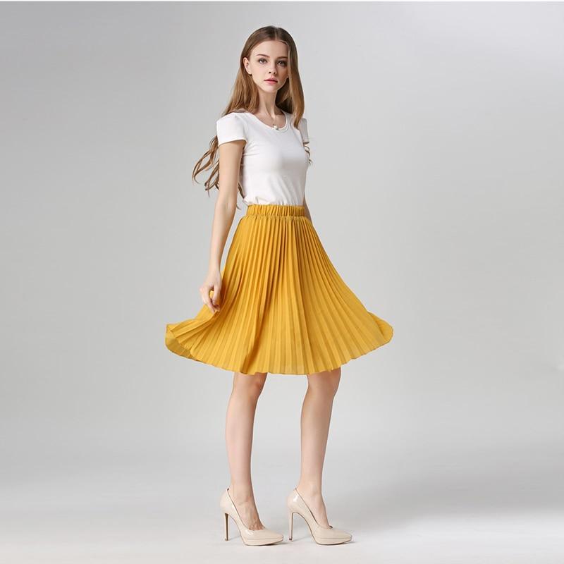 8203f0621 Comprar 2018 Vintage plisada falda moda de otoño de primavera Casual de la rodilla  longitud Falda Midi fiesta Oficina dama Mujer Faldas de cintura alta ...