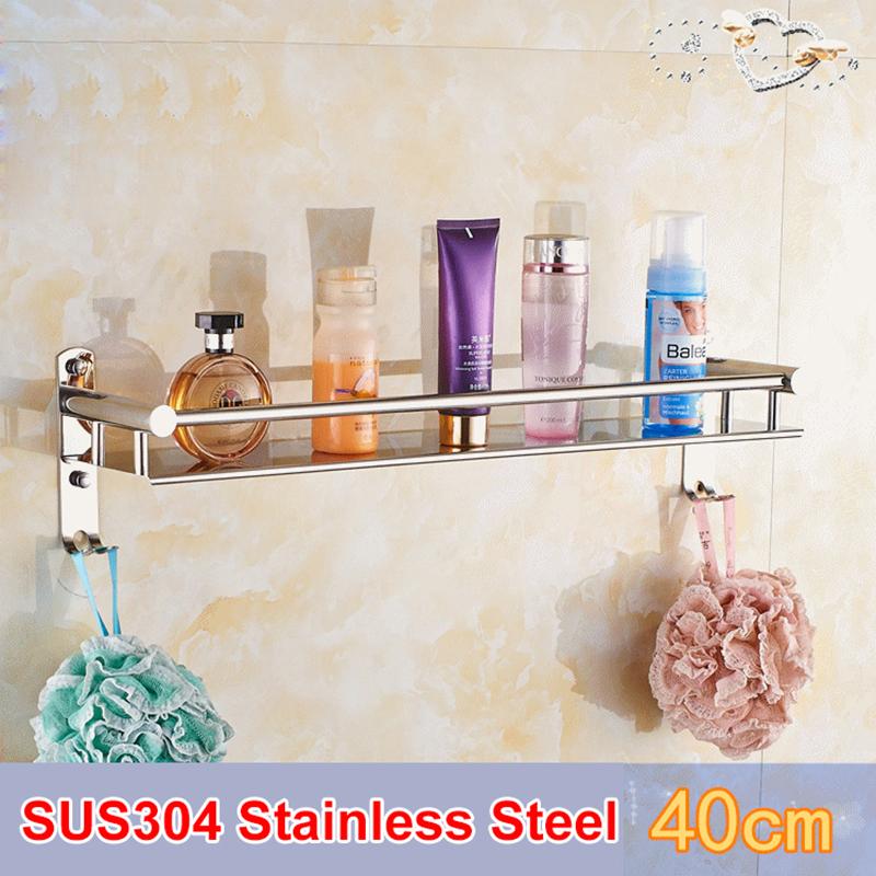 SRJ Single Tier 304 Stainless Steel Bathroom Shelves 40/50/60CM Wall Mounted Shower Bath Kitchen Holder Storage Shelf