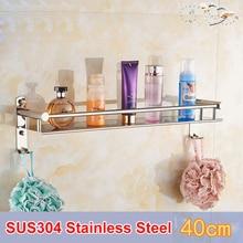 цены SRJ Single Tier 304 Stainless Steel Bathroom Shelves 40/50/60CM Wall Mounted Shower Bath Kitchen Holder Storage Shelf