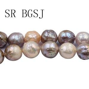 """Image 5 - Gratis Verzending 12 14 Mm Reborn Edsion Natuurlijke Gemengde Goud Kleur Zoetwater Bijna Ronde Pearl Craft Kralen Strand 15"""""""