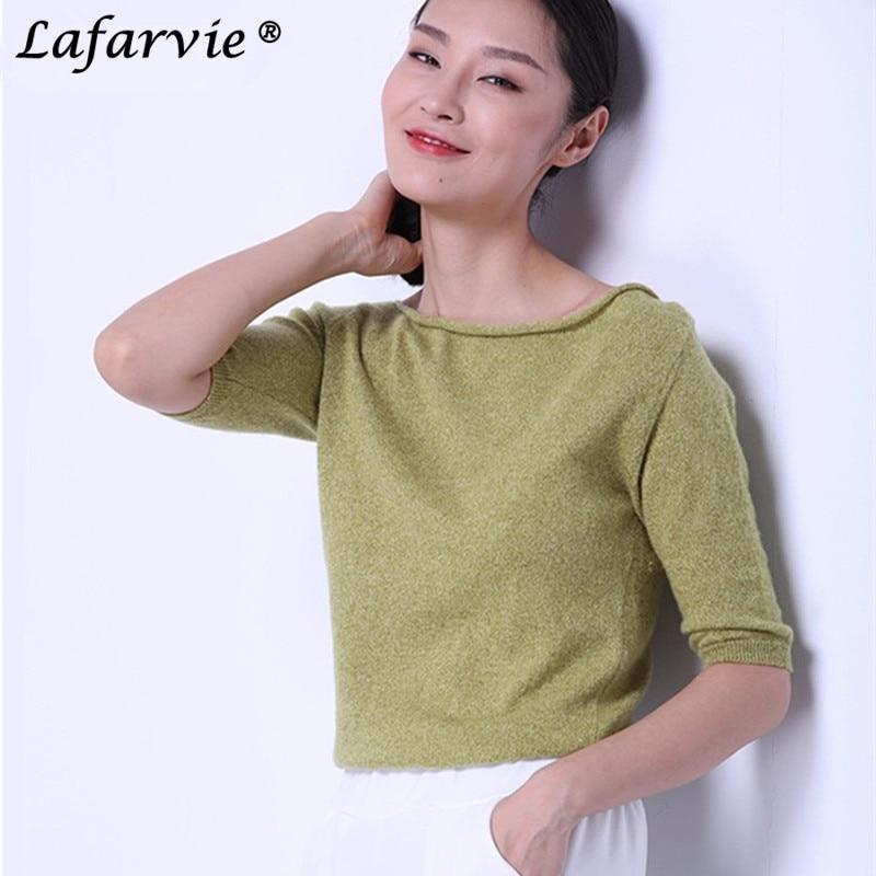 Lafarvie Kvalitet Slank Sexy Kashmir Strikket Sweater Kvinder Toppe Mode Pullover Slash Neck Halvhåret Kvinde Jumpers Træk Solid