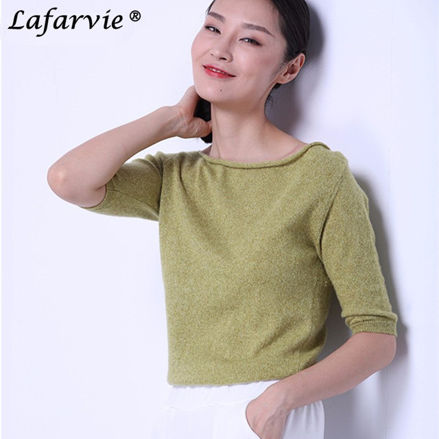 Lafarvie Quality Slim Sexy Cashmere Knitted Sweater Women Tops Fashion Pullover Slash neck Half-sleeve Female Jumpers Pull Solid
