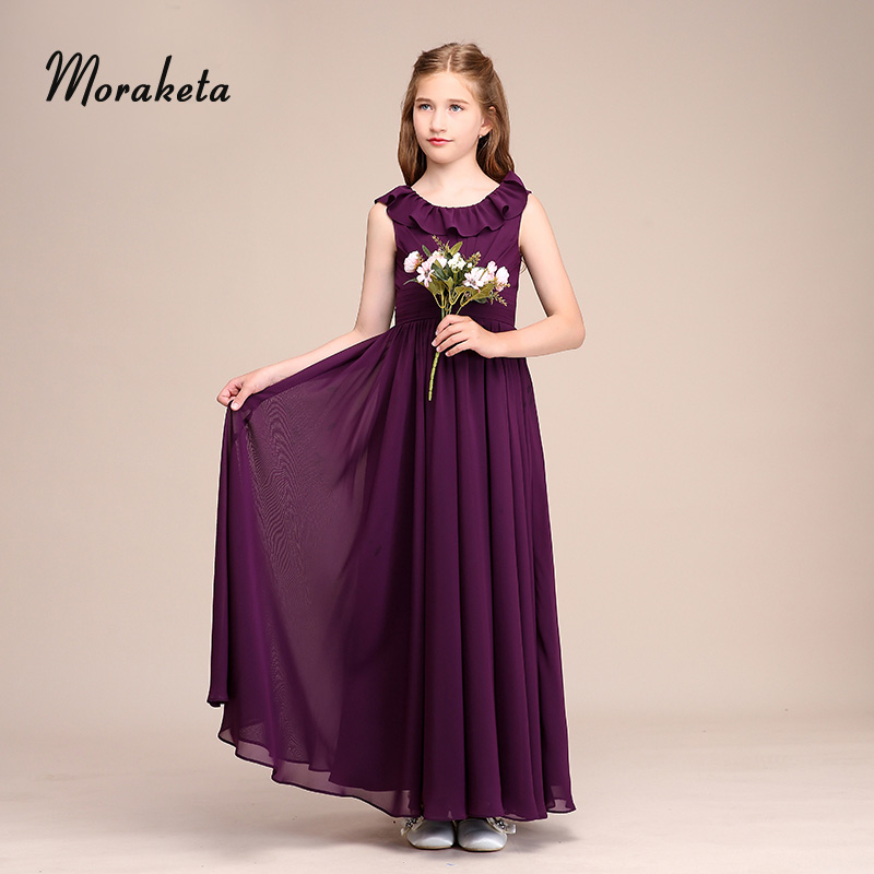 A-line Ankle-length Chiffon Flower Girl Dresses For Wedding Party Scoop Neck  Sleeveless Long Purple Junior Bridesmaid Dresses