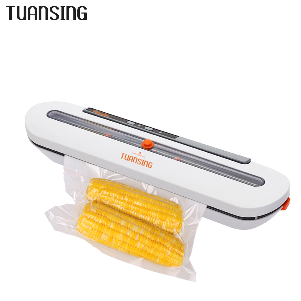TUANSING Vacuum Food Sealers Household Food Automatic Vacuum Sealing Machine With 10pcs Bags 220V/110V EU/US/AU/UK Vacuum Sealer(China)