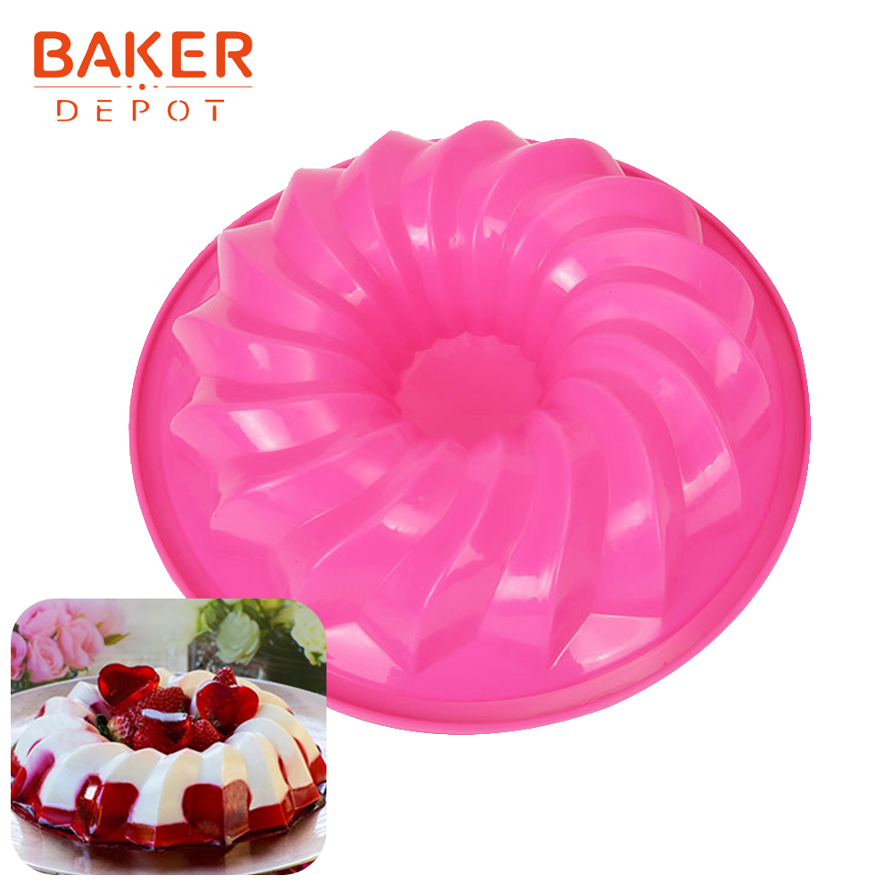 <font><b>BAKER</b></font> <font><b>DEPOT</b></font> 9 inch Silicone Mold for Cake swirl cake pastry baking form 3D Large donut Cake bread bakeware diy Birthday party image