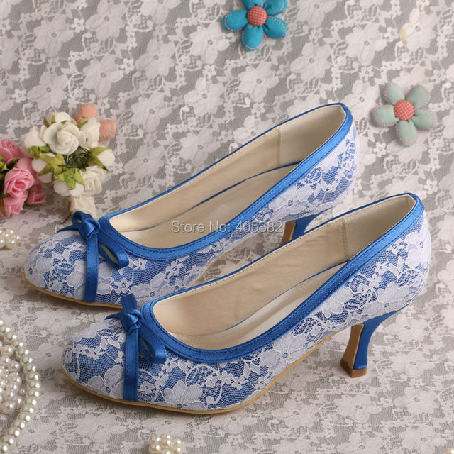 0fb0c0a5fb9f Round Toe White Lace Upper Shoes for Brides Heels 2.5