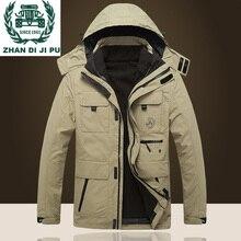 ZHAN DI JI PU Брендовая одежда зимняя куртка со съемным капюшоном и воротником пальто размера Плюс XXXL 4XL Мужская парка 195