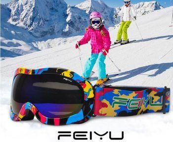 f1f021c2a8 Profesión niño gafas de esquí doble lente UV400 anti-niebla esférica  anti-viento esquí snowboard patinaje de esquí gafas máscara