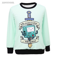 Crop Top Sweater Mooie Cartoon Robot Womens Casual Capuchon Sweatshirts Hoody Losse Hooded Jumper Trui Tops Print Jacket