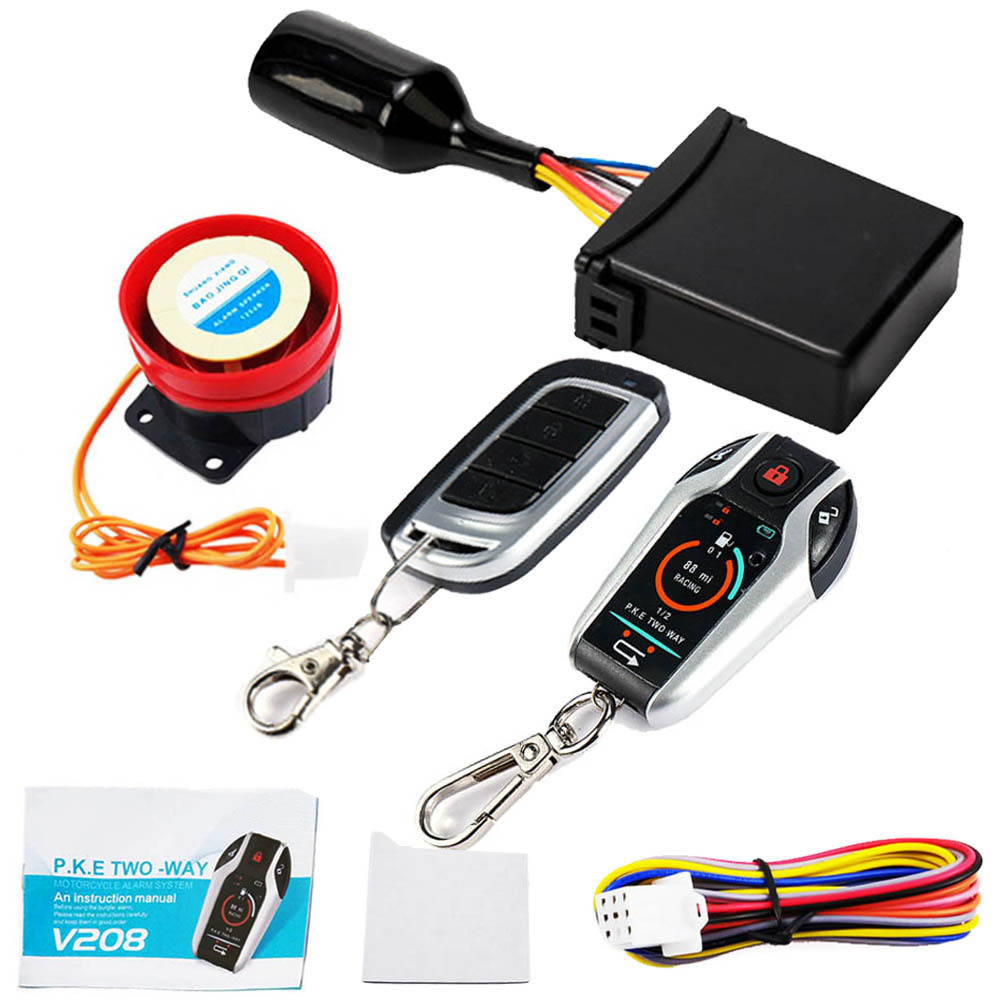 Treyues 1Set Motorcycle Scooter Alarm Anti-theft System Burglary Alarm Security Device Remote Control Engine Start Stop Two Way
