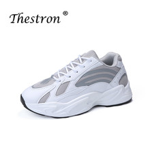 Best Selling Soft Running Shoes for Girls Thick Soled Sports White Beige Sneakers Women Mesh Breathable Designer