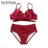 TATITIVS קיפול סקסי גבוה מותן מוצק בגדי ים ביקיני לנשים הקיץ ביקיני סט בגד ים החוף בתוספת בגדי ים גודל כוס גדולה XL