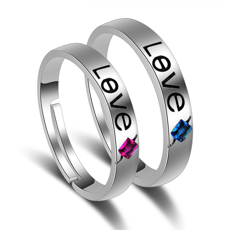 New Fashion Design Rings Silver-color Zircon 1Pair Wedding Ring For Lovers Romantic Jewelry Gift Adjustable Size Couple Rings