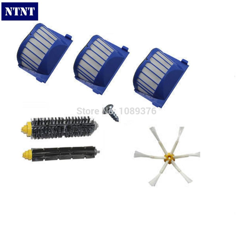 NTNT AeroVac Filter + Brush 6 armed kit for iRobot Roomba 600 Series 620 630 650 660 New ntnt free shipping new 6 x brush 6 arms aero vac filter for irobot roomba 600 series 620 630 650 660