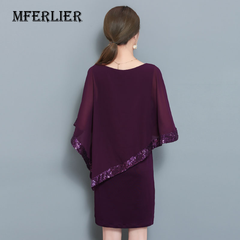 0dcaf7f6 Women Summer Chiffon Dress Plus Size Fashion Sequin Batwing Sleeve Off  Shoulder O Neck Half Sleeve Purple Black Mini Dress-in Dresses from Women's  Clothing ...