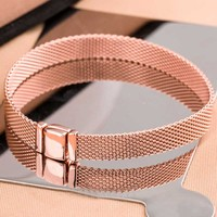 New 925 Sterling Silver Bracelet Rose Gold Woven Mesh Reflexions Bracelets Bangle Fit Women Bead Charm Pandora Diy Jewelry