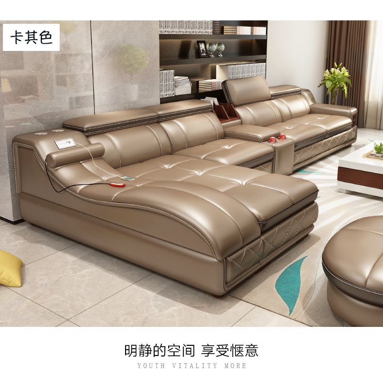 US $1139.05 5% OFF|Living Room Sofa set furniture real genuine cow leather  sofa recliner massage bluetooth puff asiento muebles de sala canape cama-in  ...
