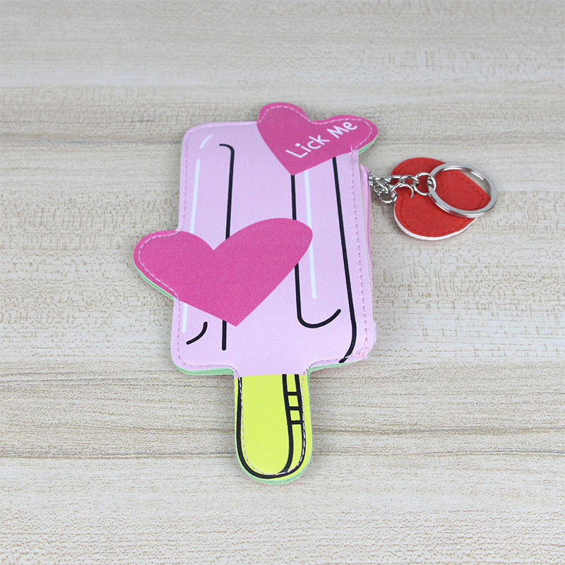 Creative Girls Kids Mini PU Leather Wallet Ice Cream Ice Sucker Bottle Cup Key Case Money Coin Purses