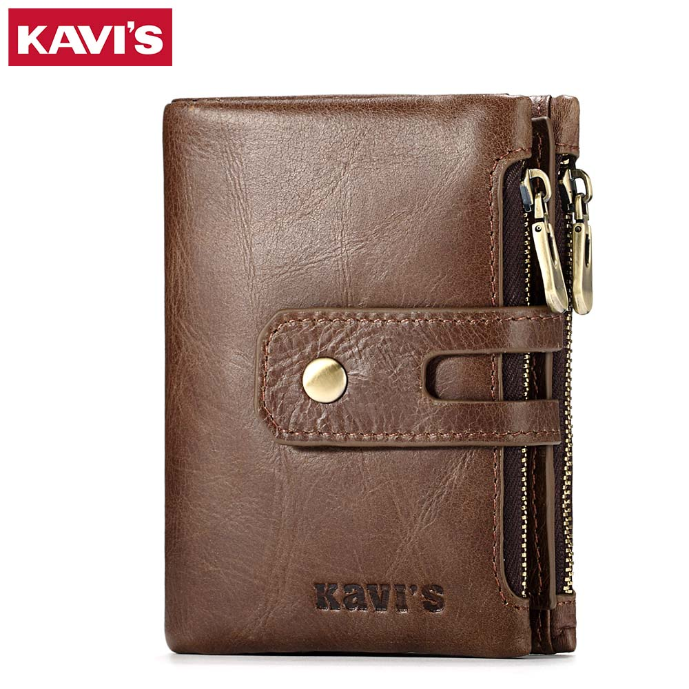 KAVIS Genuine Leather Men Wallet Coin Purse Small Male Walet Portomonee PORTFOLIO Hasp Zipper Money Bag Card Holder Perse kavis brand crazy horse genuine leather wallet men wallets coin purse with card holder mini male with bag portomonee small walet