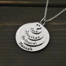 2018 New Design Custom Any Words Necklace Personalised Stack Disc Name Engraved Family Member  Necklaces YP3792