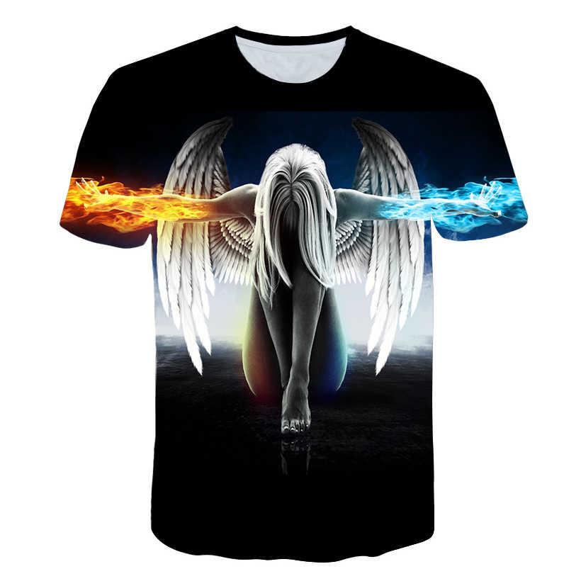 2019 Новая модная брендовая футболка больших размеров для мужчин/женщин, летняя 3d Футболка с принтом ангела, футболки