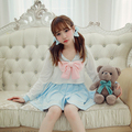 Princess sweet lolita dress BoBON21 Exclusive design bow detachable Sailor moon embroidery sailor collar dress D1269
