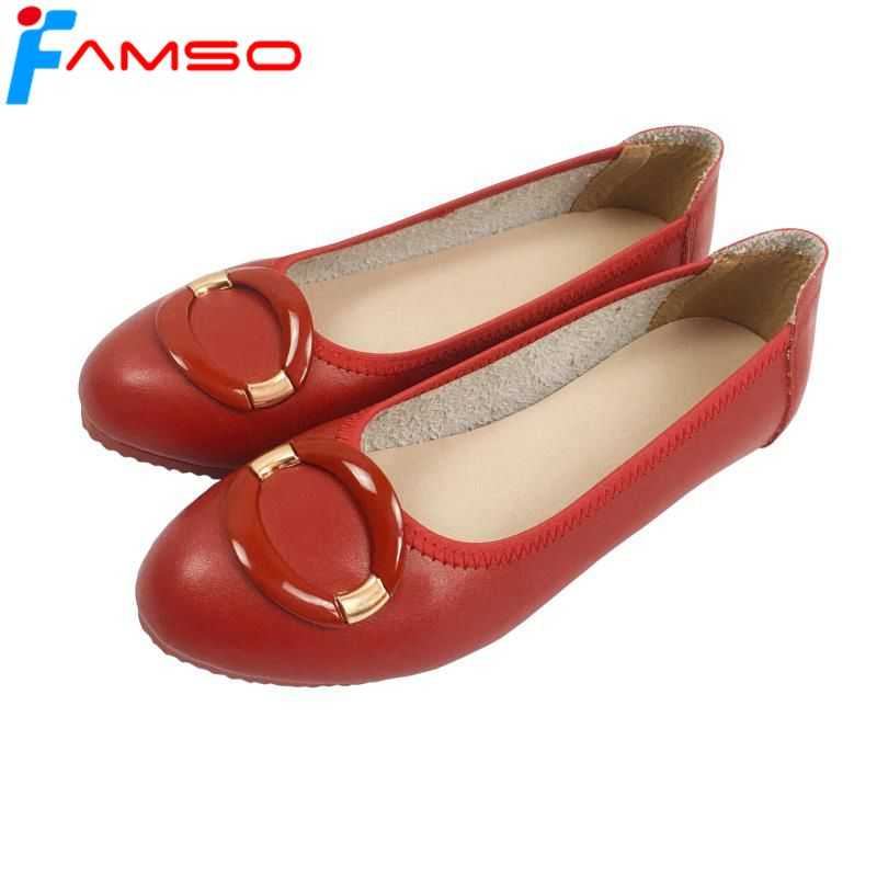 FAMSO Free shipping 2018 Women Flats Shoes Spring Autumn Shallow Low Shoes Round Toe Loadfers Spilt Leather Shoes free shipping candy color women garden shoes breathable women beach shoes hsa21