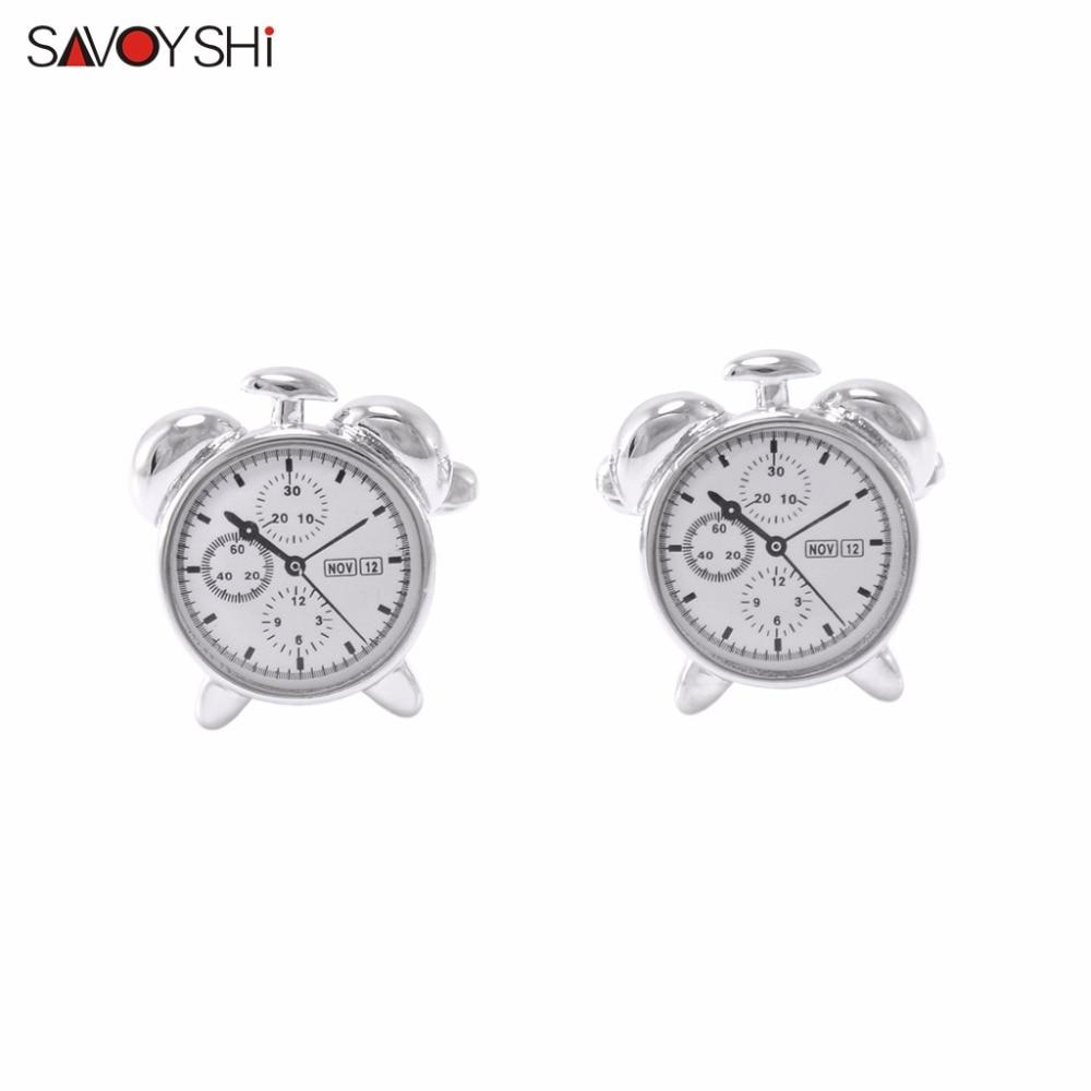 SAVOYSHI  brand Jewelry Classic High quality metal alarm clock Cuff links French shirt Cufflinks for men Business Cufflink