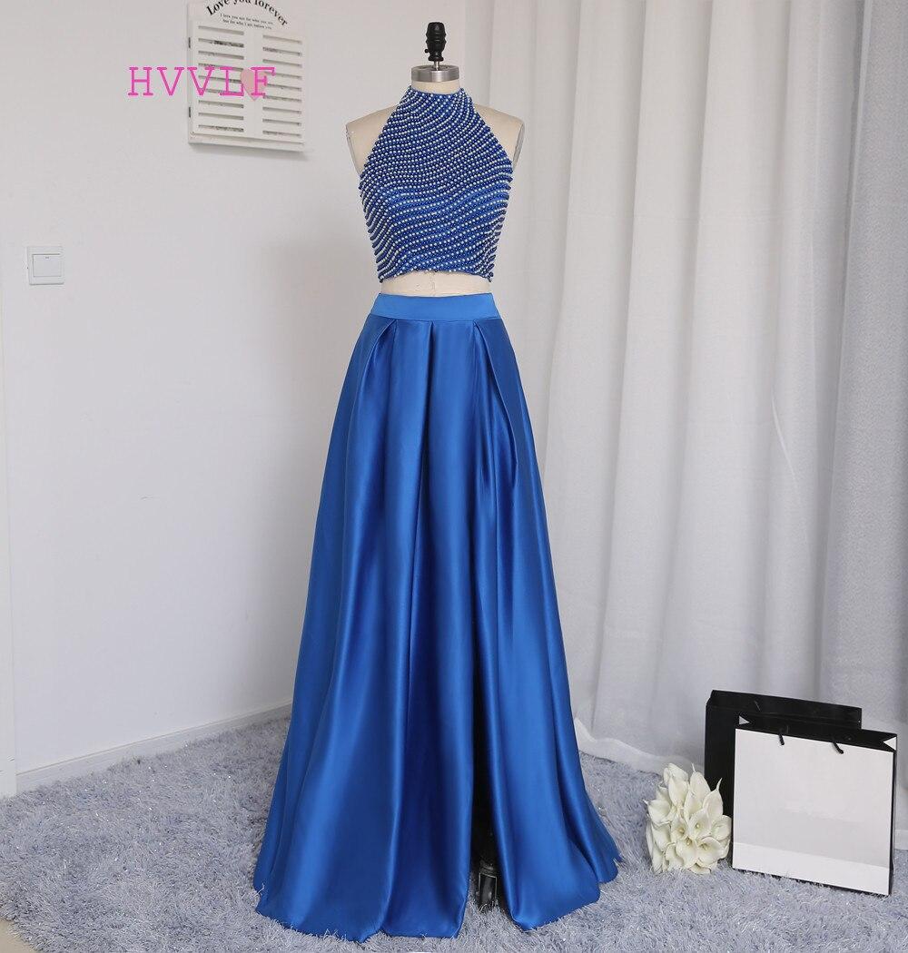 Royal Blue Real Sample 2019 Prom Dresses A-line Collo alto Lunghezza del pavimento Perla Due pezzi Prom Abito da sera Abiti da sera