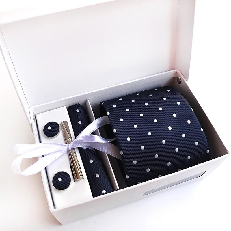 8CM Tie Sets W/Box Best Gifts For Men Polka Dots Neckties Cufflinks Square Handkerchief Business Wedding Party Man Neck Ties Kit