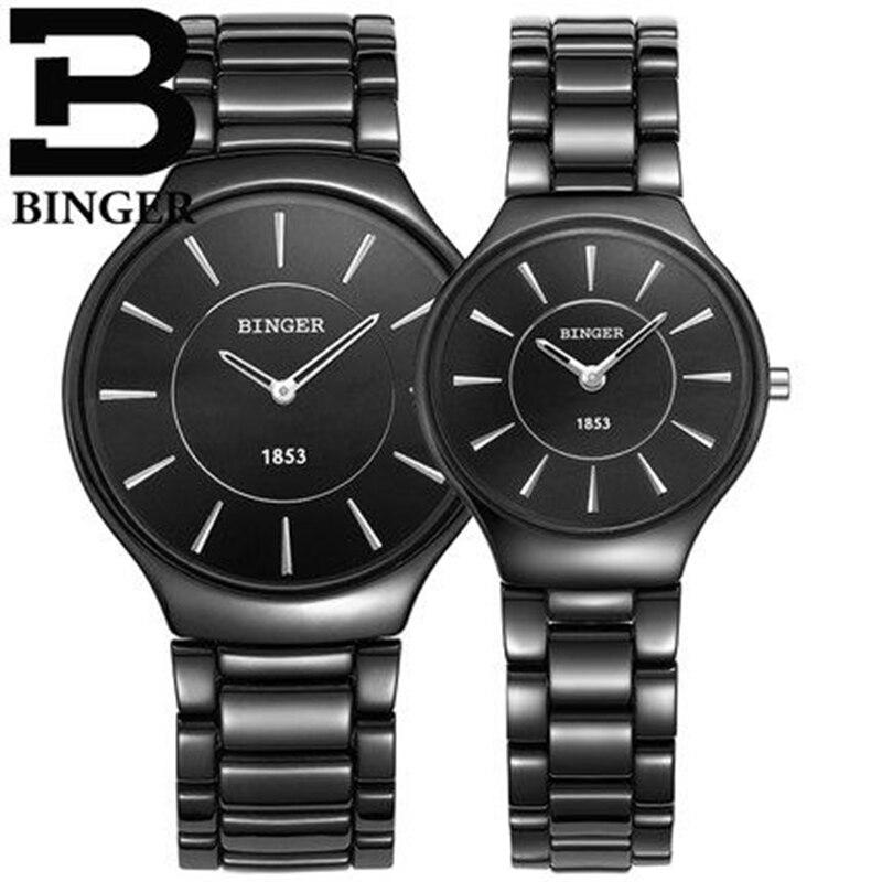 c4f50cf3668 Genuine Luxo Marca Suíça BINGER cerâmica relógio das mulheres dos homens  relógios de quartzo casal esguio