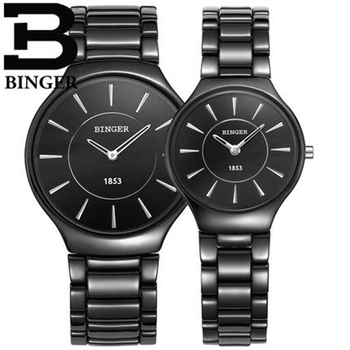 Genuine Luxury Switzerland BINGER Brand ceramic watch men women couple quartz watches slim stylish table waterproof
