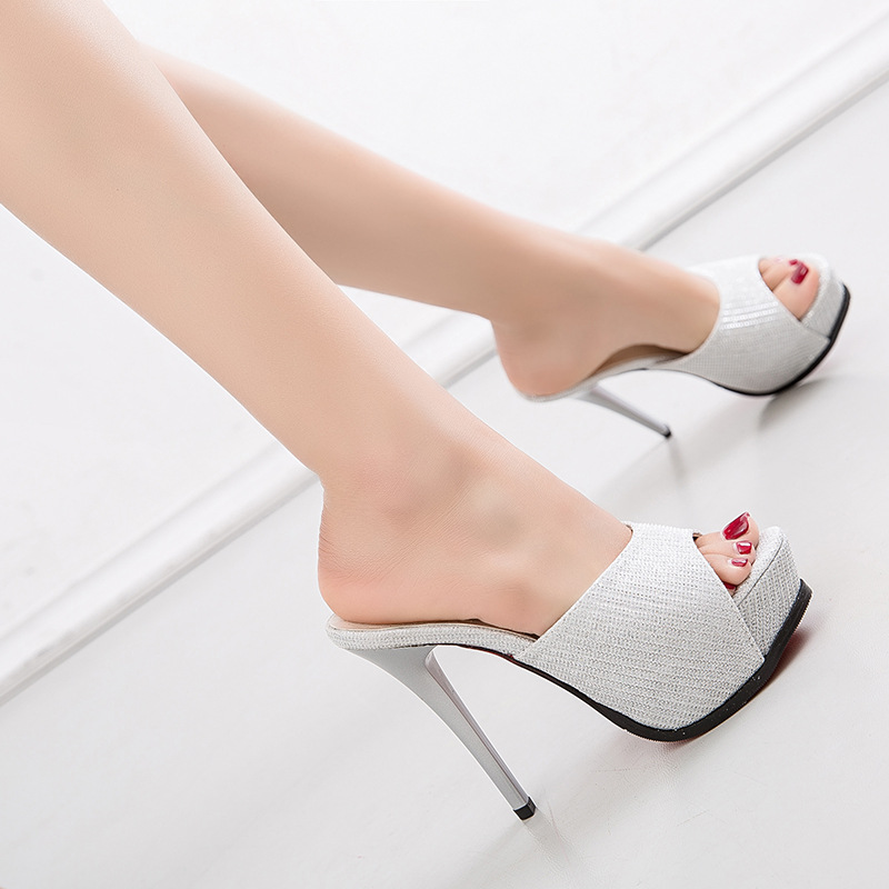 FeiYiTu 2019 Summer Style Women High Heels 12CM Mules Pointed Toe Sexy Women Slides Female Thin Heels Female Outdoor Slippers in Slippers from Shoes