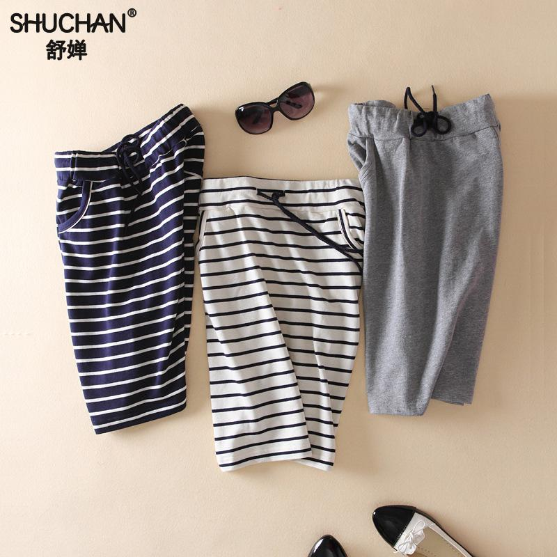 SHUCHAN 2018 New Summer Cotton Skirt Casual Striped Skirts Female Pencil Saia The Style Of Korea Skirts Are Straigh Fashion 6601