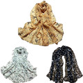 Snowshine #20 1 UNID Mujeres Señora de la Nota Musical de Gasa Chal Bufanda Silenciador Bufandas envío gratis